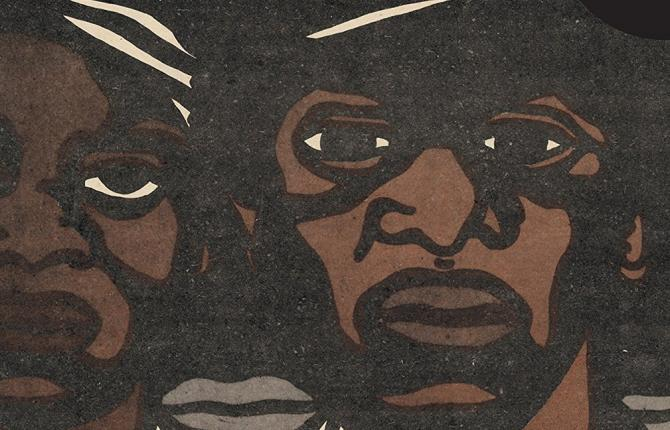 A graphic illustration of three men, taken from the cover of the book 'The Revolutionary Art of Emory Douglas'